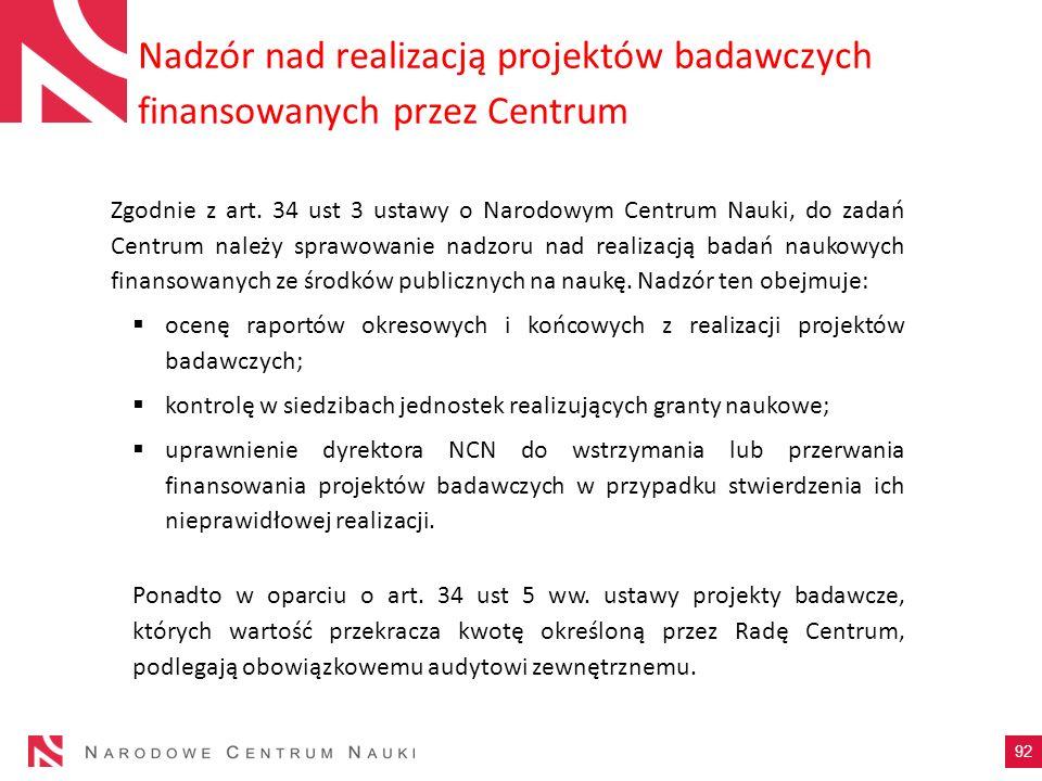 Nadzór nad realizacją projektów badawczych finansowanych przez Centrum 92 Zgodnie z art. 34 ust 3 ustawy o Narodowym Centrum Nauki, do zadań Centrum n