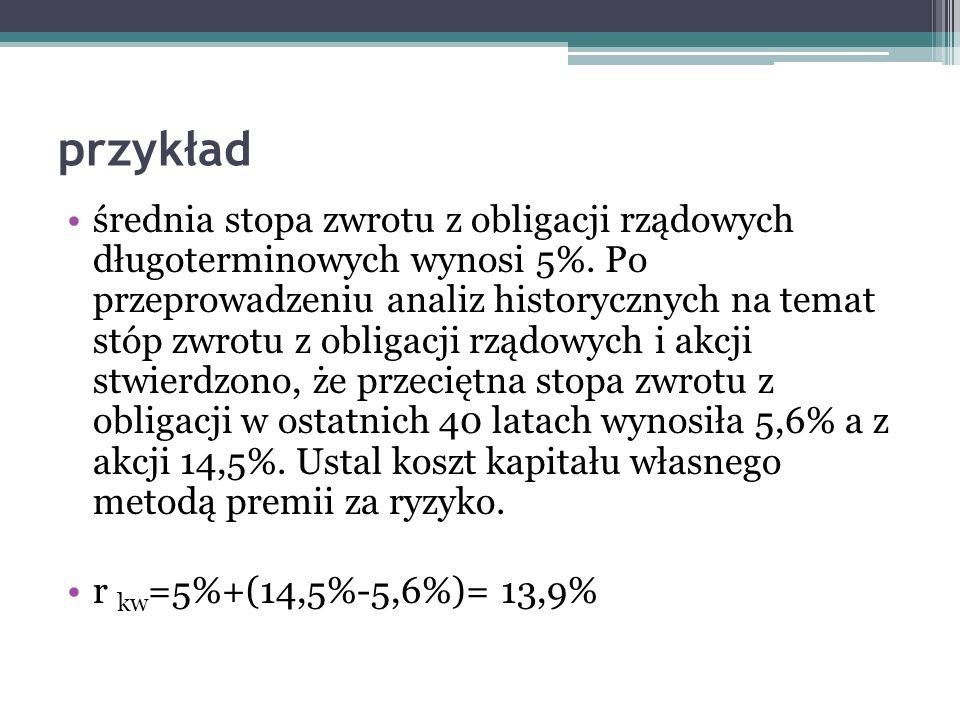 przykład średnia stopa zwrotu z obligacji rządowych długoterminowych wynosi 5%. Po przeprowadzeniu analiz historycznych na temat stóp zwrotu z obligac
