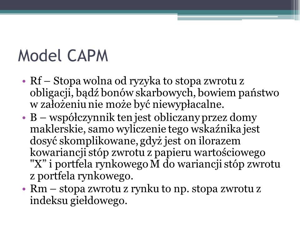 Model CAPM Rf – Stopa wolna od ryzyka to stopa zwrotu z obligacji, bądź bonów skarbowych, bowiem państwo w założeniu nie może być niewypłacalne. Β – w