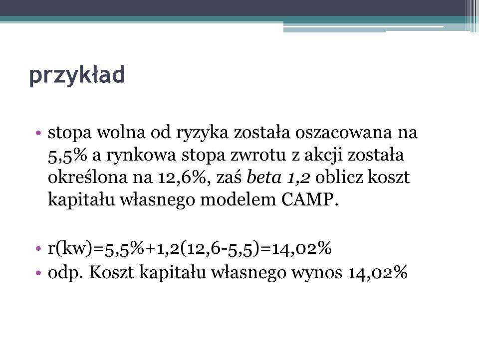 przykład stopa wolna od ryzyka została oszacowana na 5,5% a rynkowa stopa zwrotu z akcji została określona na 12,6%, zaś beta 1,2 oblicz koszt kapitał