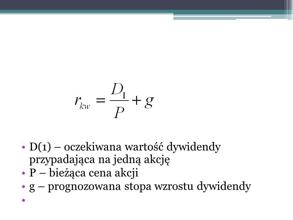 D(1) – oczekiwana wartość dywidendy przypadająca na jedną akcję P – bieżąca cena akcji g – prognozowana stopa wzrostu dywidendy