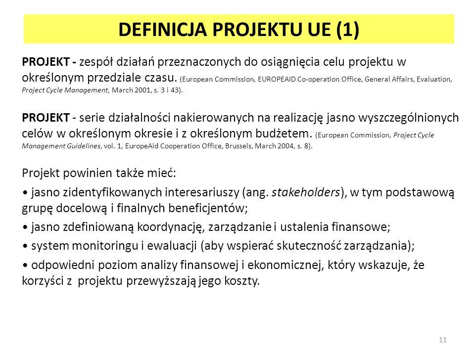 DEFINICJA PROJEKTU UE (1) PROJEKT - zespół działań przeznaczonych do osiągnięcia celu projektu w określonym przedziale czasu.