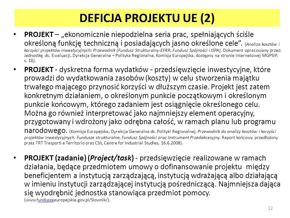 DEFICJA PROJEKTU UE (2) PROJEKT – ekonomicznie niepodzielna seria prac, spełniających ściśle określoną funkcję techniczną i posiadających jasno określone cele.