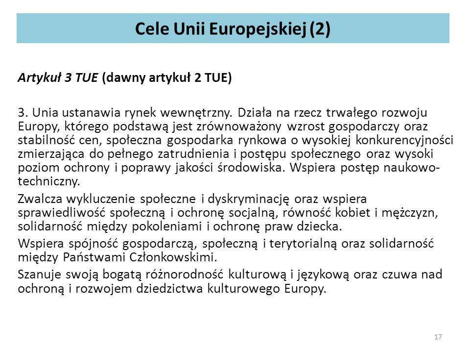 Cele Unii Europejskiej (2) Artykuł 3 TUE (dawny artykuł 2 TUE) 3.