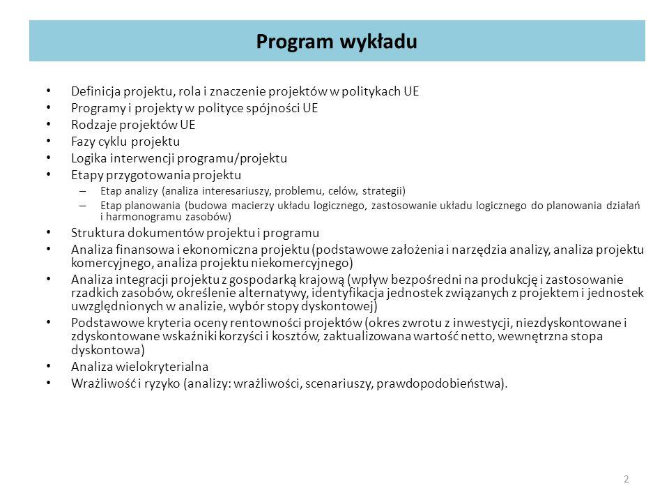 Program wykładu Definicja projektu, rola i znaczenie projektów w politykach UE Programy i projekty w polityce spójności UE Rodzaje projektów UE Fazy cyklu projektu Logika interwencji programu/projektu Etapy przygotowania projektu – Etap analizy (analiza interesariuszy, problemu, celów, strategii) – Etap planowania (budowa macierzy układu logicznego, zastosowanie układu logicznego do planowania działań i harmonogramu zasobów) Struktura dokumentów projektu i programu Analiza finansowa i ekonomiczna projektu (podstawowe założenia i narzędzia analizy, analiza projektu komercyjnego, analiza projektu niekomercyjnego) Analiza integracji projektu z gospodarką krajową (wpływ bezpośredni na produkcję i zastosowanie rzadkich zasobów, określenie alternatywy, identyfikacja jednostek związanych z projektem i jednostek uwzględnionych w analizie, wybór stopy dyskontowej) Podstawowe kryteria oceny rentowności projektów (okres zwrotu z inwestycji, niezdyskontowane i zdyskontowane wskaźniki korzyści i kosztów, zaktualizowana wartość netto, wewnętrzna stopa dyskontowa) Analiza wielokryterialna Wrażliwość i ryzyko (analizy: wrażliwości, scenariuszy, prawdopodobieństwa).