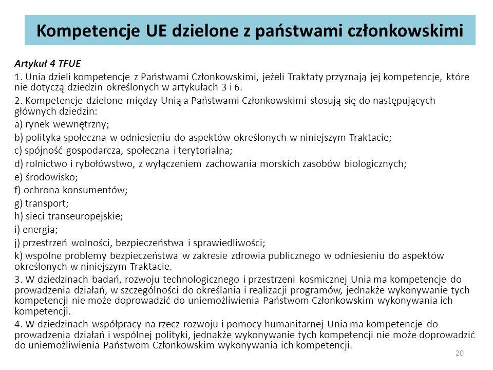 Kompetencje UE dzielone z państwami członkowskimi Artykuł 4 TFUE 1.