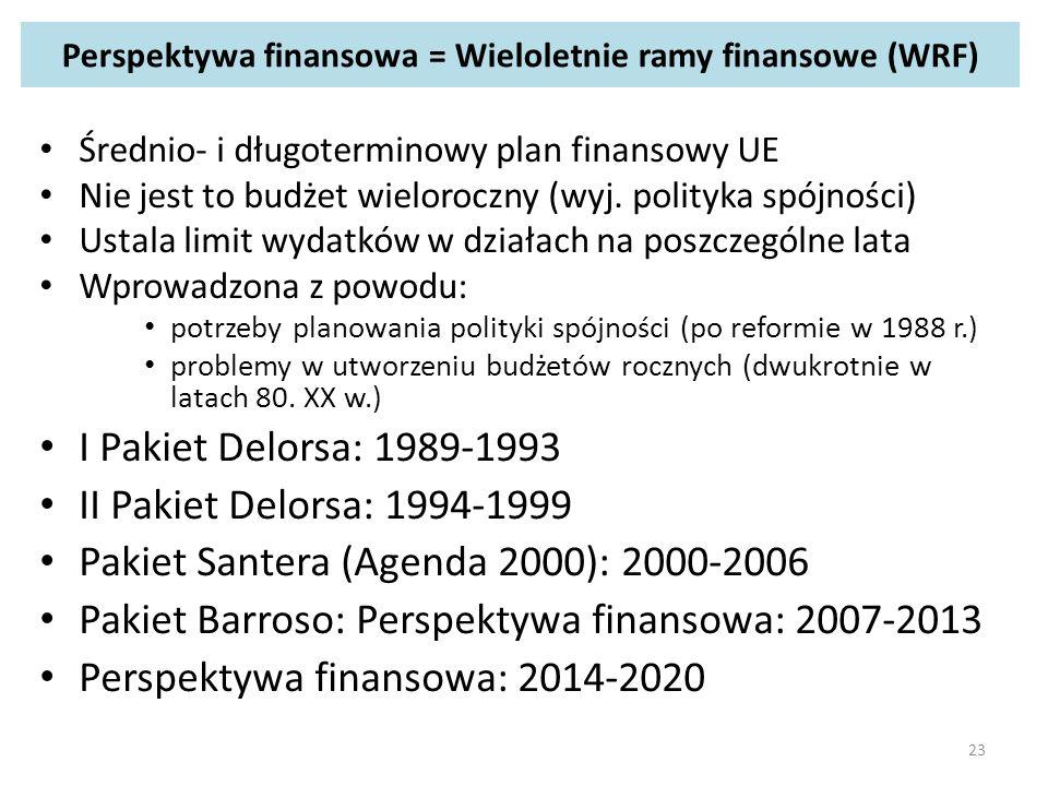 Perspektywa finansowa = Wieloletnie ramy finansowe (WRF) Średnio- i długoterminowy plan finansowy UE Nie jest to budżet wieloroczny (wyj.