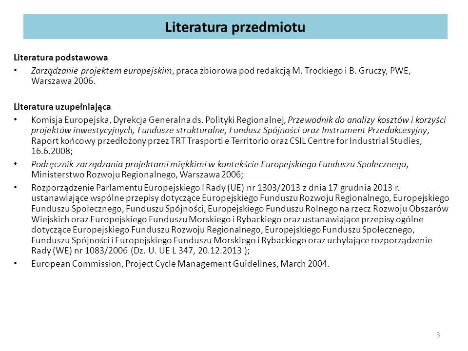 Literatura przedmiotu Literatura podstawowa Zarządzanie projektem europejskim, praca zbiorowa pod redakcją M.