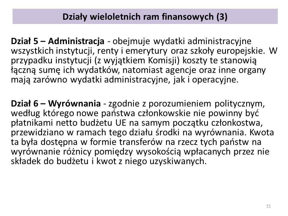Działy wieloletnich ram finansowych (3) Dział 5 – Administracja - obejmuje wydatki administracyjne wszystkich instytucji, renty i emerytury oraz szkoły europejskie.
