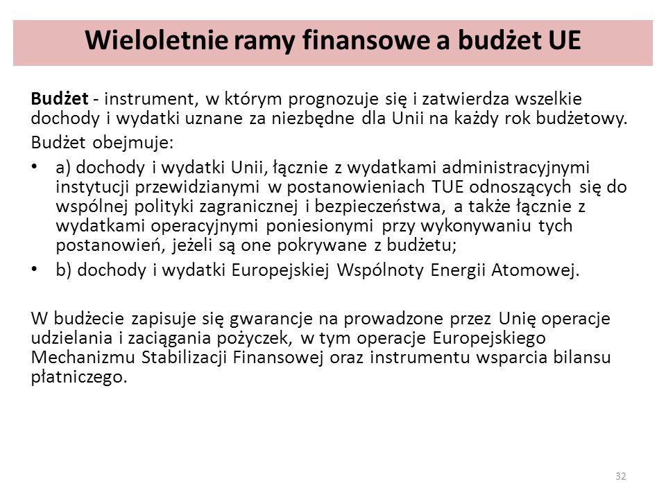 Wieloletnie ramy finansowe a budżet UE Budżet - instrument, w którym prognozuje się i zatwierdza wszelkie dochody i wydatki uznane za niezbędne dla Unii na każdy rok budżetowy.