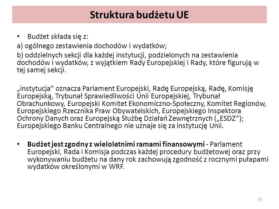 Struktura budżetu UE Budżet składa się z: a) ogólnego zestawienia dochodów i wydatków; b) oddzielnych sekcji dla każdej instytucji, podzielonych na zestawienia dochodów i wydatków, z wyjątkiem Rady Europejskiej i Rady, które figurują w tej samej sekcji.