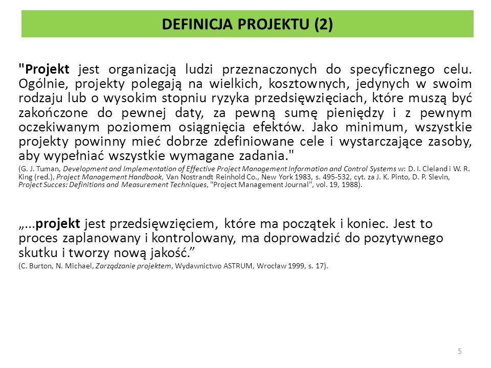 DEFINICJA PROJEKTU (2) Projekt jest organizacją ludzi przeznaczonych do specyficznego celu.