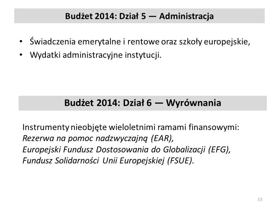 Budżet 2014: Dział 5 Administracja Świadczenia emerytalne i rentowe oraz szkoły europejskie, Wydatki administracyjne instytucji.