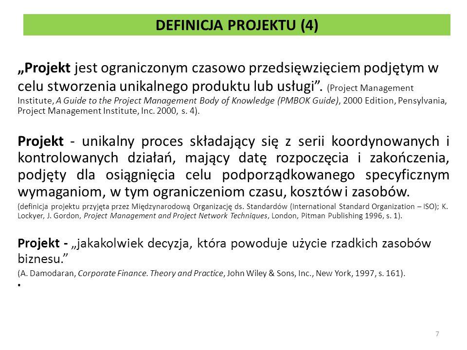 DEFINICJA PROJEKTU (4) Projekt jest ograniczonym czasowo przedsięwzięciem podjętym w celu stworzenia unikalnego produktu lub usługi.