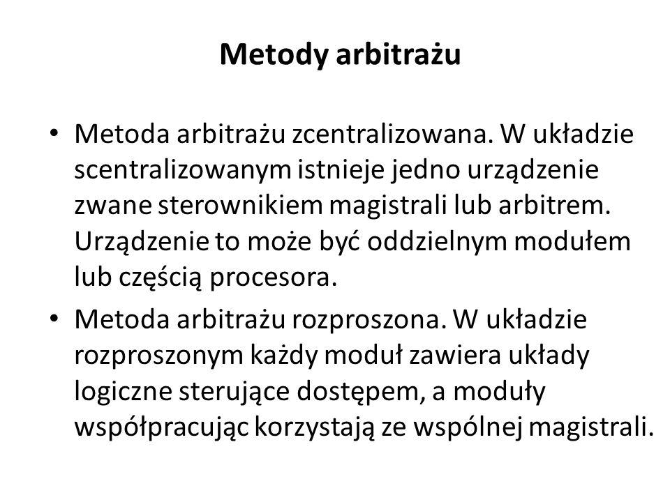 Metody arbitrażu Metoda arbitrażu zcentralizowana. W układzie scentralizowanym istnieje jedno urządzenie zwane sterownikiem magistrali lub arbitrem. U
