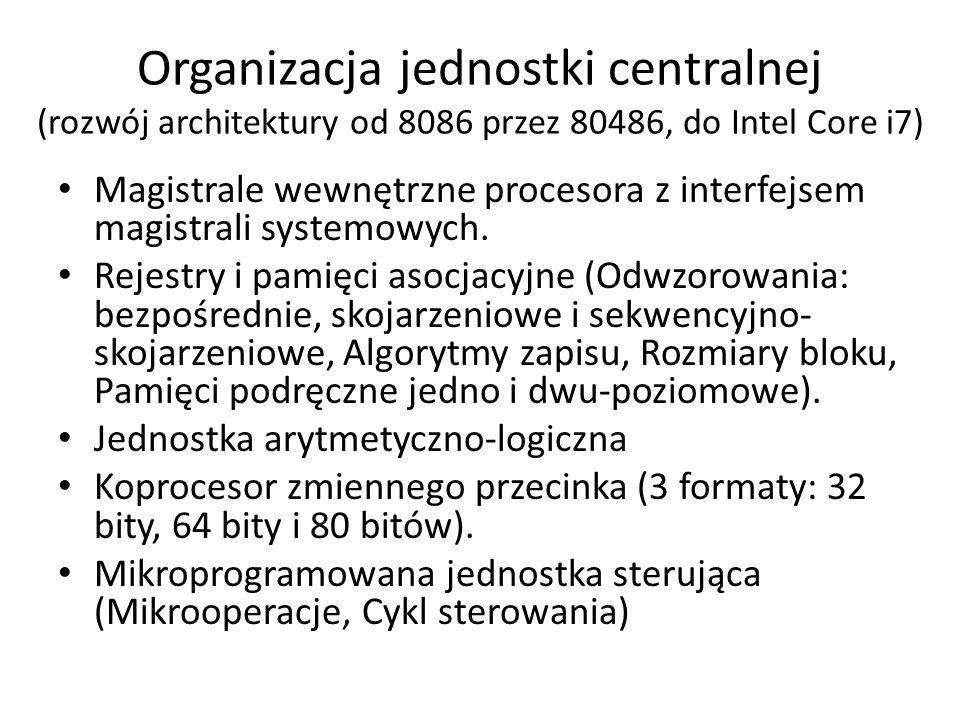 Organizacja jednostki centralnej (rozwój architektury od 8086 przez 80486, do Intel Core i7) Magistrale wewnętrzne procesora z interfejsem magistrali