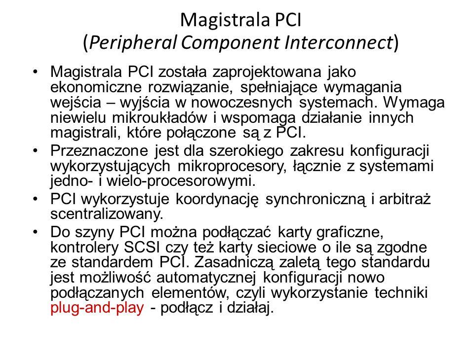 Magistrala PCI (Peripheral Component Interconnect) Magistrala PCI została zaprojektowana jako ekonomiczne rozwiązanie, spełniające wymagania wejścia –