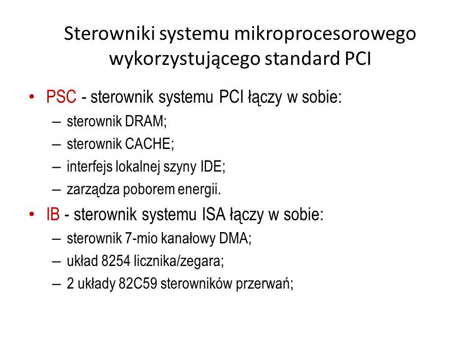 Sterowniki systemu mikroprocesorowego wykorzystującego standard PCI PSC - sterownik systemu PCI łączy w sobie: – sterownik DRAM; – sterownik CACHE; –
