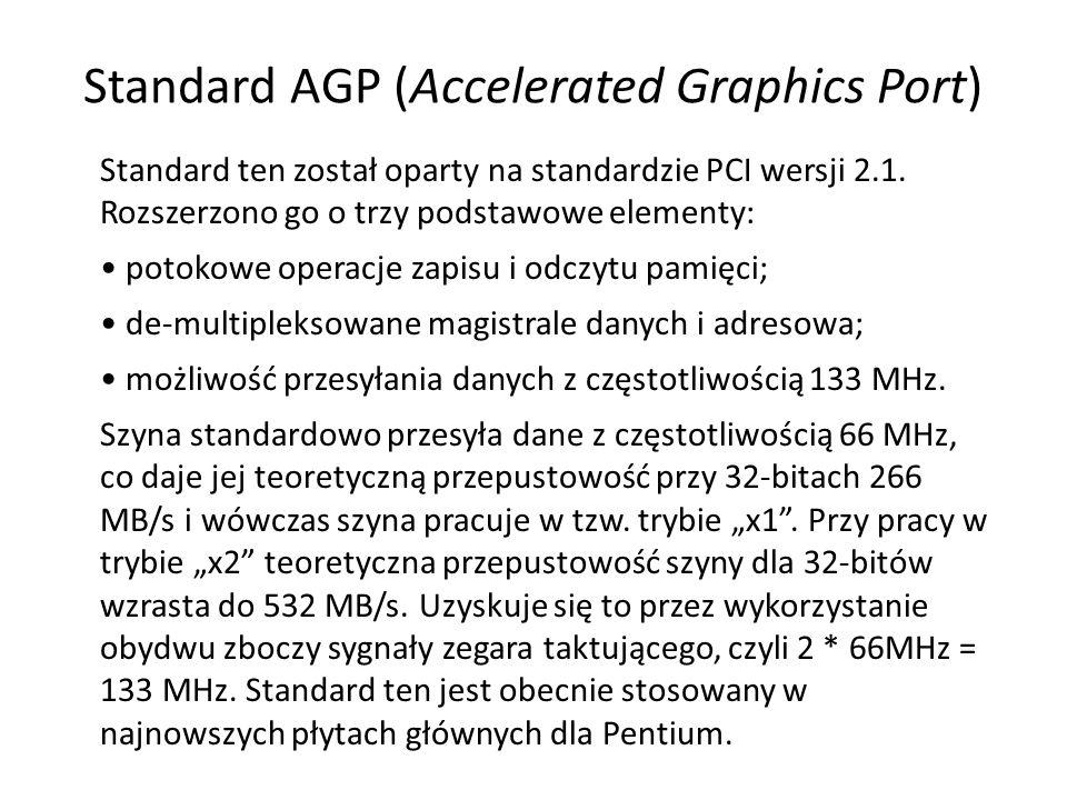 Standard AGP (Accelerated Graphics Port) Standard ten został oparty na standardzie PCI wersji 2.1. Rozszerzono go o trzy podstawowe elementy: potokowe