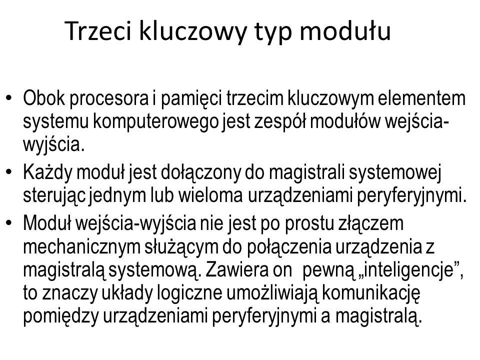 Trzeci kluczowy typ modułu Obok procesora i pamięci trzecim kluczowym elementem systemu komputerowego jest zespół modułów wejścia- wyjścia. Każdy modu