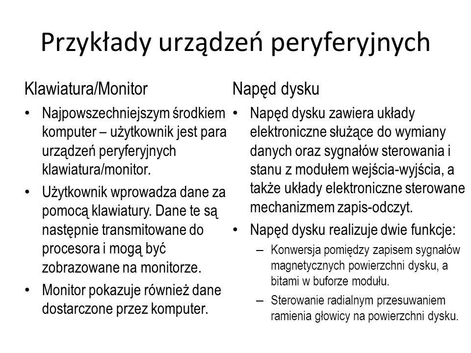 Przykłady urządzeń peryferyjnych Klawiatura/Monitor Najpowszechniejszym środkiem komputer – użytkownik jest para urządzeń peryferyjnych klawiatura/mon