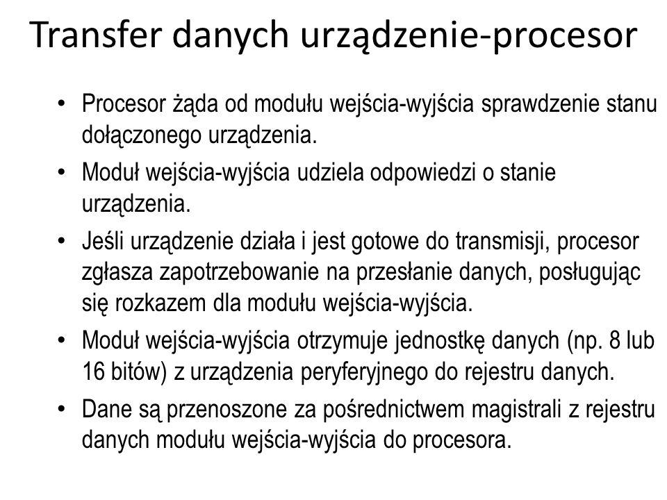 Transfer danych urządzenie-procesor Procesor żąda od modułu wejścia-wyjścia sprawdzenie stanu dołączonego urządzenia. Moduł wejścia-wyjścia udziela od