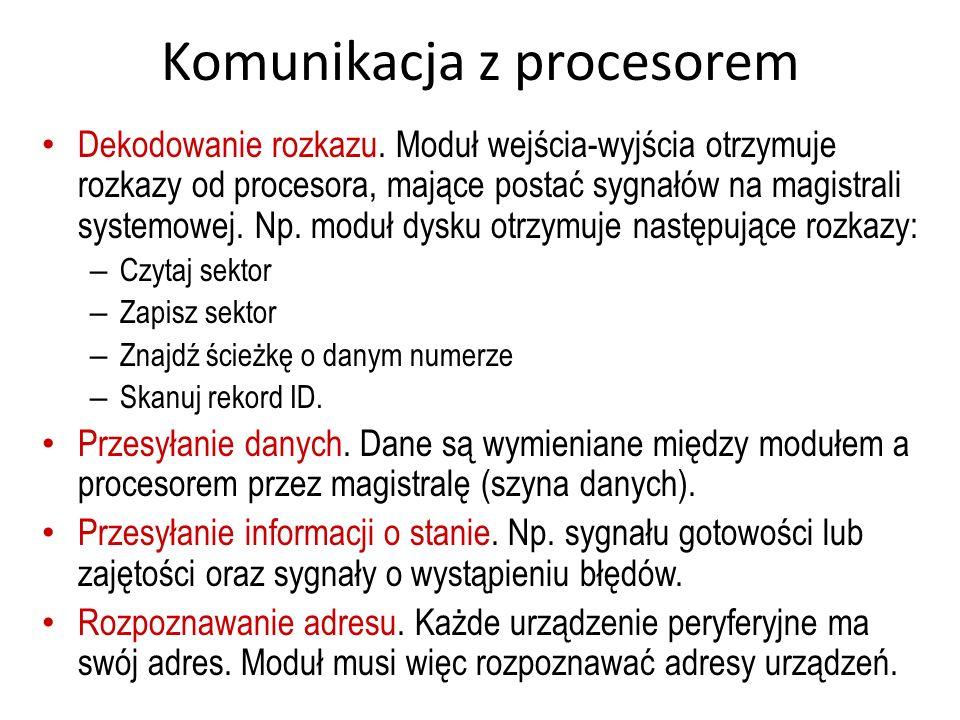 Komunikacja z procesorem Dekodowanie rozkazu. Moduł wejścia-wyjścia otrzymuje rozkazy od procesora, mające postać sygnałów na magistrali systemowej. N