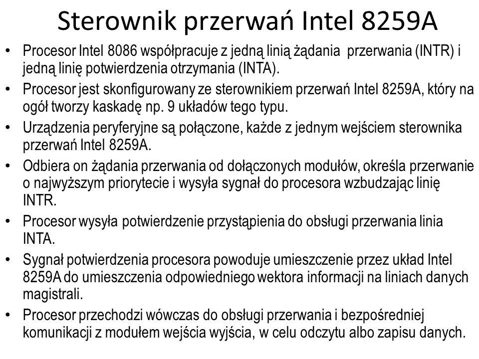 Sterownik przerwań Intel 8259A Procesor Intel 8086 współpracuje z jedną linią żądania przerwania (INTR) i jedną linię potwierdzenia otrzymania (INTA).