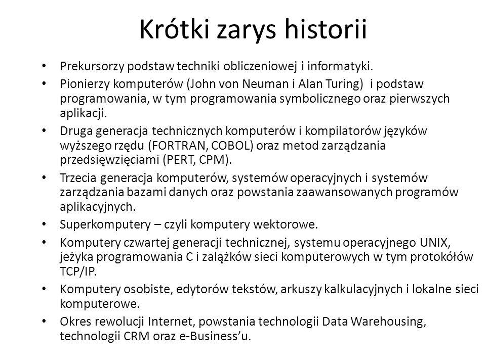 Krótki zarys historii Prekursorzy podstaw techniki obliczeniowej i informatyki. Pionierzy komputerów (John von Neuman i Alan Turing) i podstaw program