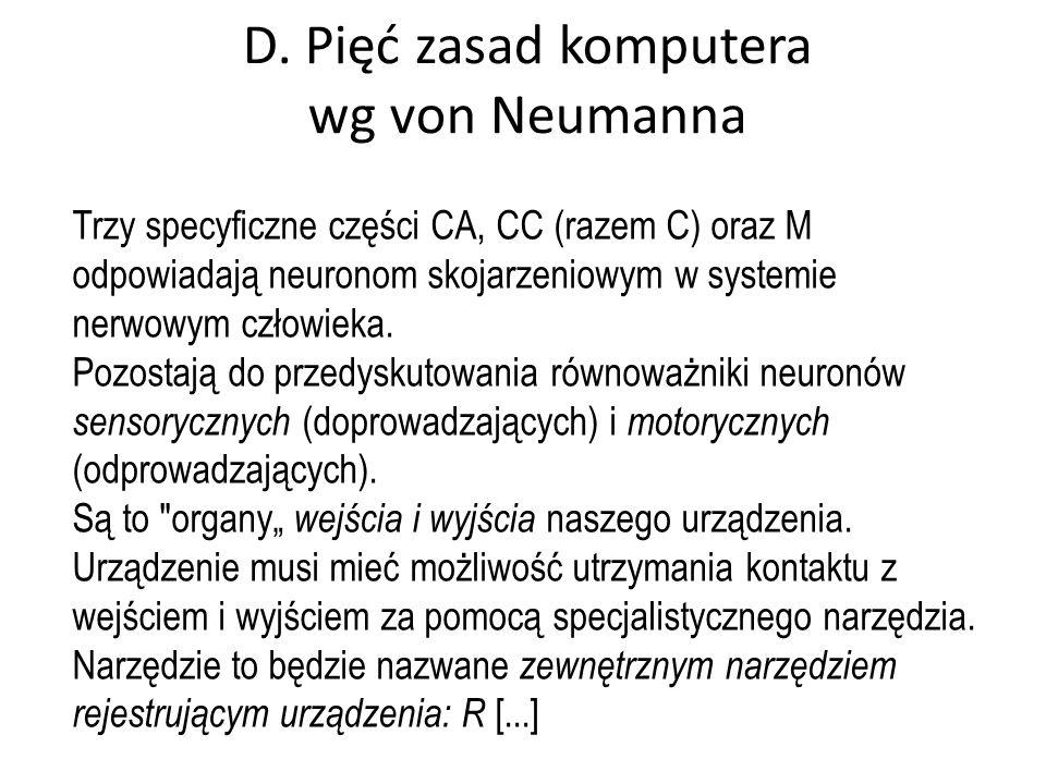 D. Pięć zasad komputera wg von Neumanna Trzy specyficzne części CA, CC (razem C) oraz M odpowiadają neuronom skojarzeniowym w systemie nerwowym człowi