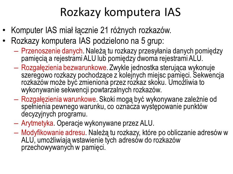 Rozkazy komputera IAS Komputer IAS miał łącznie 21 różnych rozkazów. Rozkazy komputera IAS podzielono na 5 grup: – Przenoszenie danych. Należą tu rozk