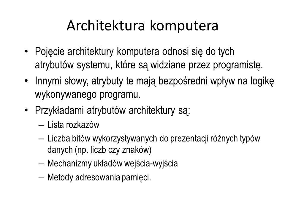 Architektura komputera Pojęcie architektury komputera odnosi się do tych atrybutów systemu, które są widziane przez programistę. Innymi słowy, atrybut