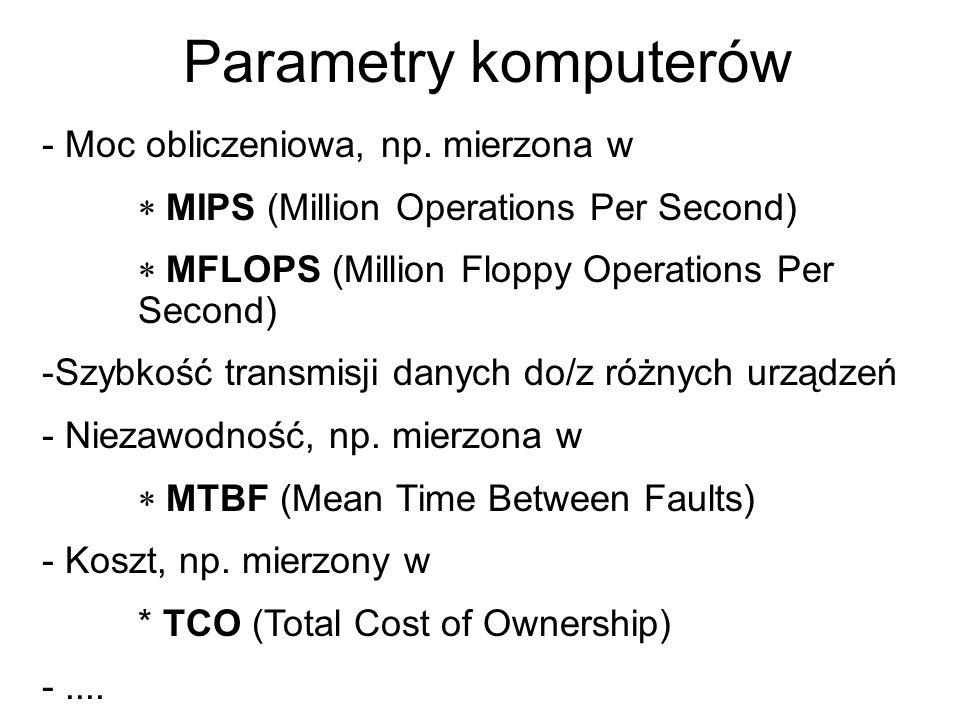 Parametry komputerów - Moc obliczeniowa, np. mierzona w MIPS (Million Operations Per Second) MFLOPS (Million Floppy Operations Per Second) -Szybkość t