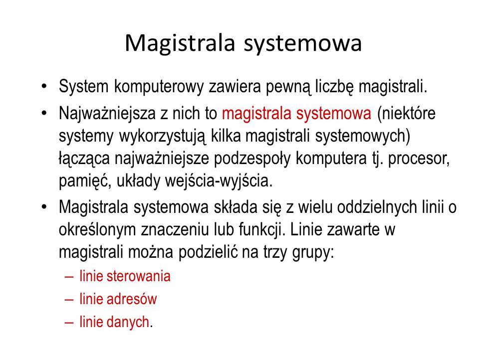 Magistrala systemowa System komputerowy zawiera pewną liczbę magistrali. Najważniejsza z nich to magistrala systemowa (niektóre systemy wykorzystują k