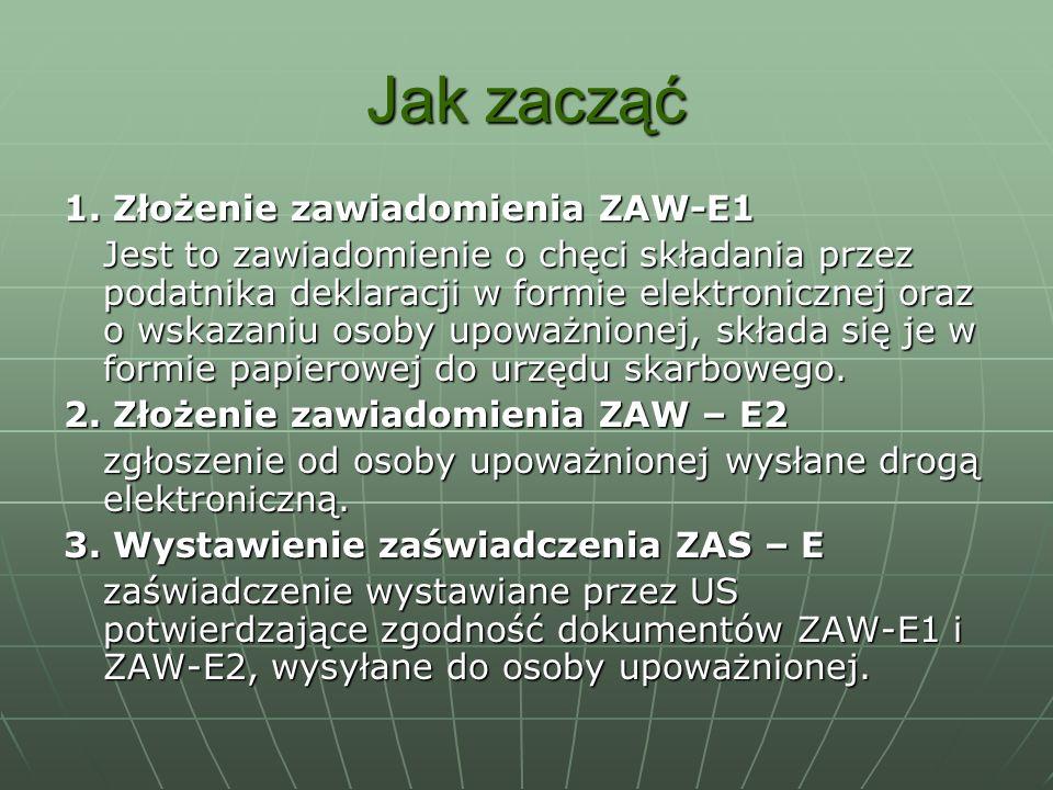 Jak zacząć 1. Złożenie zawiadomienia ZAW-E1 Jest to zawiadomienie o chęci składania przez podatnika deklaracji w formie elektronicznej oraz o wskazani