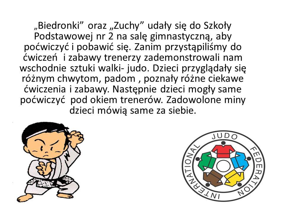 Biedronki oraz Zuchy udały się do Szkoły Podstawowej nr 2 na salę gimnastyczną, aby poćwiczyć i pobawić się.