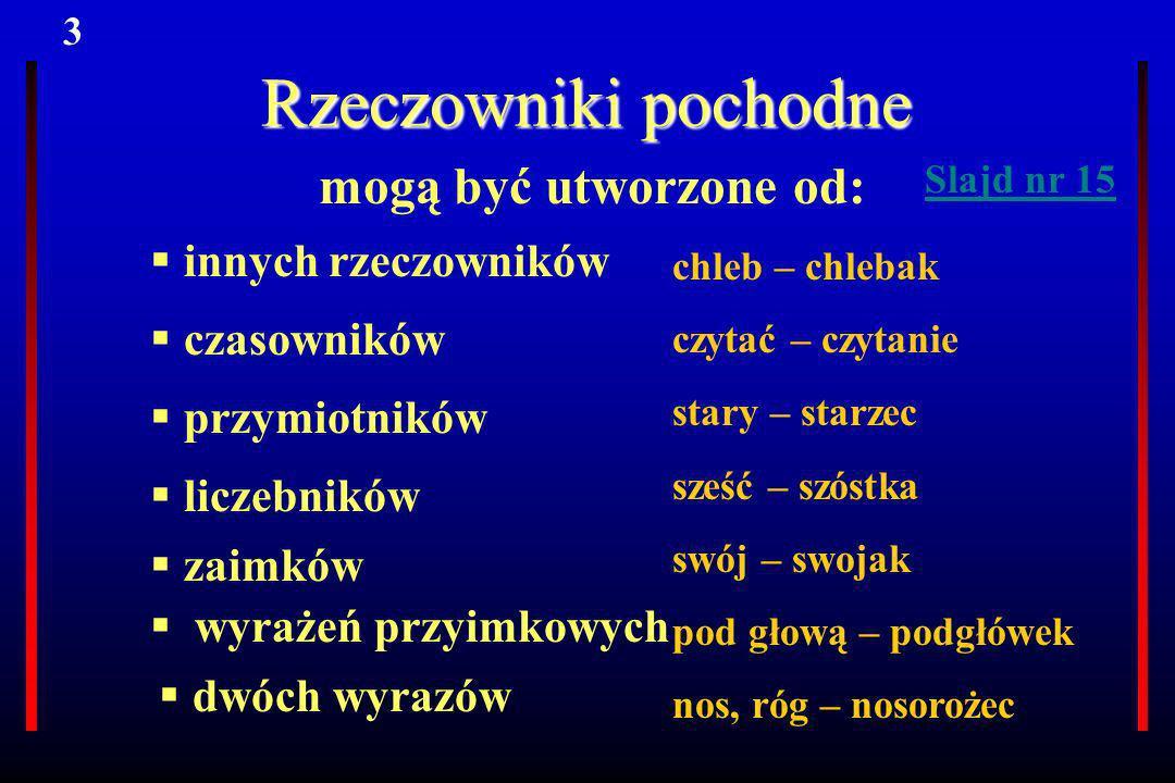 Rzeczowniki pochodne mogą być utworzone od: innych rzeczowników czasowników przymiotników liczebników zaimków wyrażeń przyimkowych dwóch wyrazów chleb