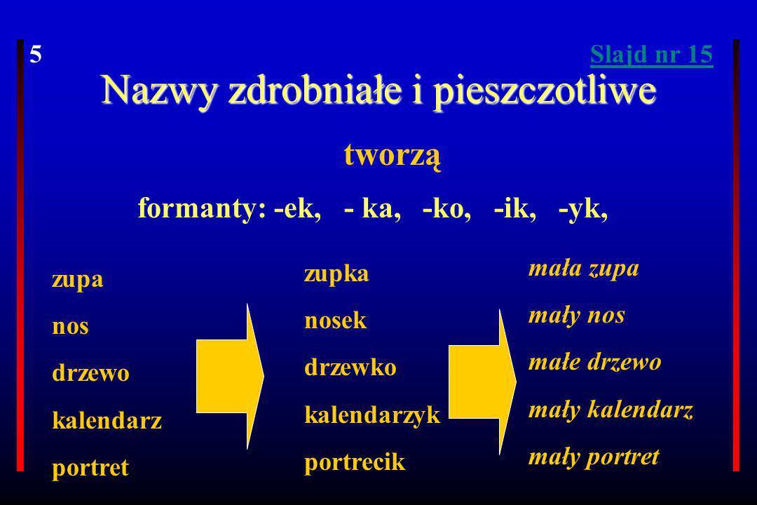 Nazwy zdrobniałe i pieszczotliwe formanty: -ek, - ka, -ko, -ik, -yk, tworzą zupa nos drzewo kalendarz portret zupka nosek drzewko kalendarzyk portreci