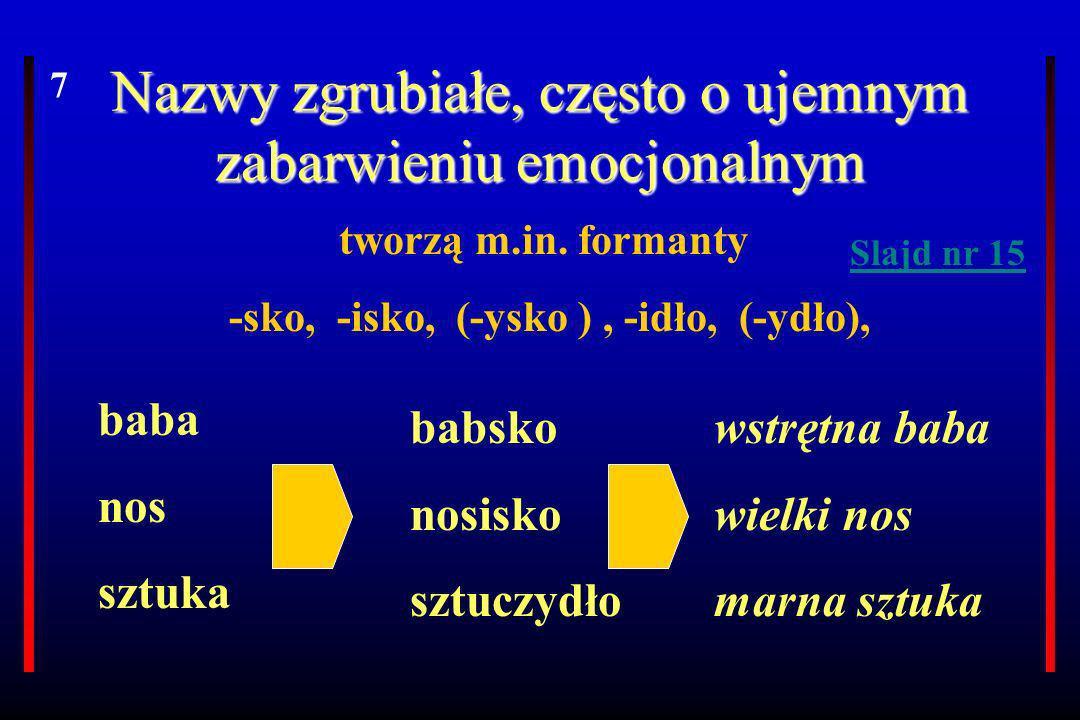 Nazwy zgrubiałe, często o ujemnym zabarwieniu emocjonalnym tworzą m.in. formanty -sko, -isko, (-ysko ), -idło, (-ydło), baba nos sztuka babsko nosisko