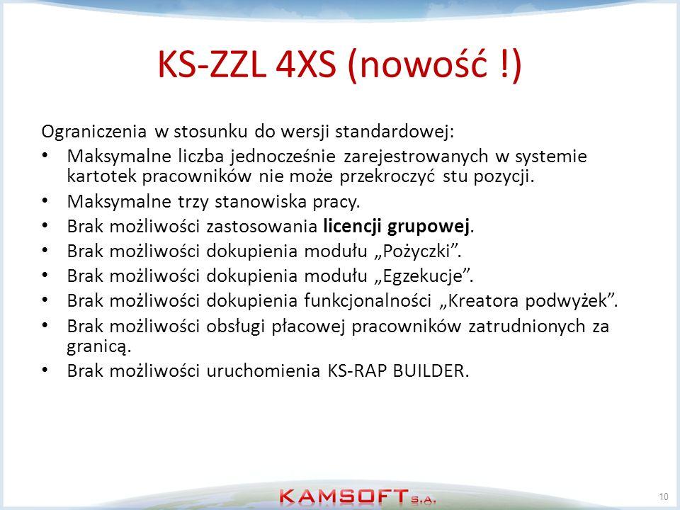KS-ZZL 4XS (nowość !) Ograniczenia w stosunku do wersji standardowej: Maksymalne liczba jednocześnie zarejestrowanych w systemie kartotek pracowników