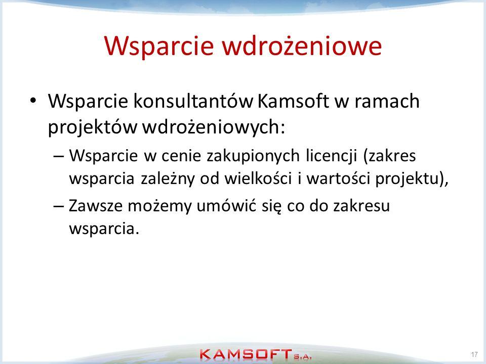 Wsparcie wdrożeniowe Wsparcie konsultantów Kamsoft w ramach projektów wdrożeniowych: – Wsparcie w cenie zakupionych licencji (zakres wsparcia zależny