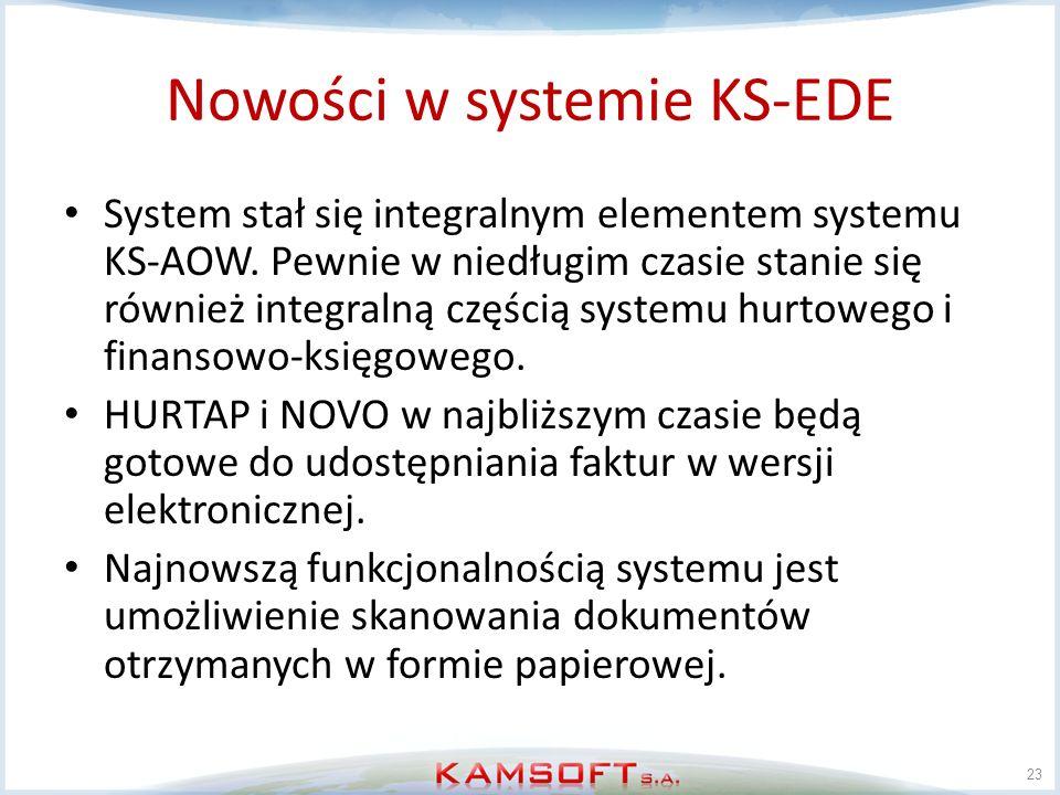 Nowości w systemie KS-EDE System stał się integralnym elementem systemu KS-AOW. Pewnie w niedługim czasie stanie się również integralną częścią system