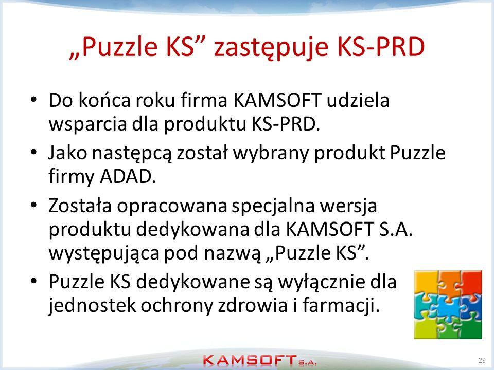 Puzzle KS zastępuje KS-PRD Do końca roku firma KAMSOFT udziela wsparcia dla produktu KS-PRD. Jako następcą został wybrany produkt Puzzle firmy ADAD. Z