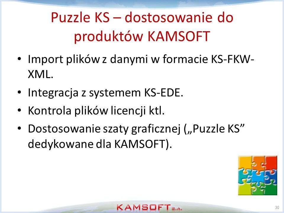 Puzzle KS – dostosowanie do produktów KAMSOFT Import plików z danymi w formacie KS-FKW- XML. Integracja z systemem KS-EDE. Kontrola plików licencji kt