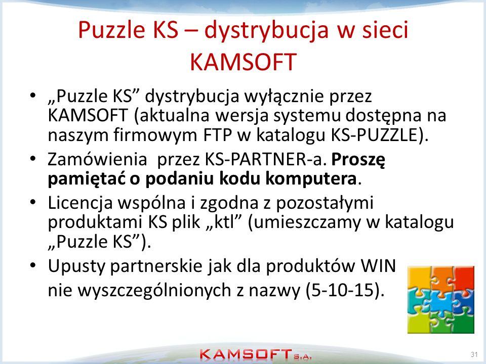 Puzzle KS – dystrybucja w sieci KAMSOFT Puzzle KS dystrybucja wyłącznie przez KAMSOFT (aktualna wersja systemu dostępna na naszym firmowym FTP w katal