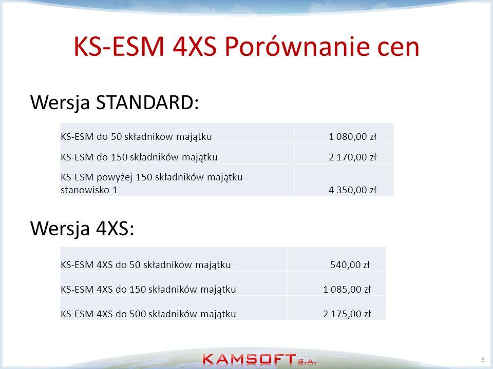 KS-ESM 4XS Porównanie cen Wersja STANDARD: Wersja 4XS: 9 KS-ESM do 50 składników majątku 1 080,00 zł KS-ESM do 150 składników majątku 2 170,00 zł KS-E