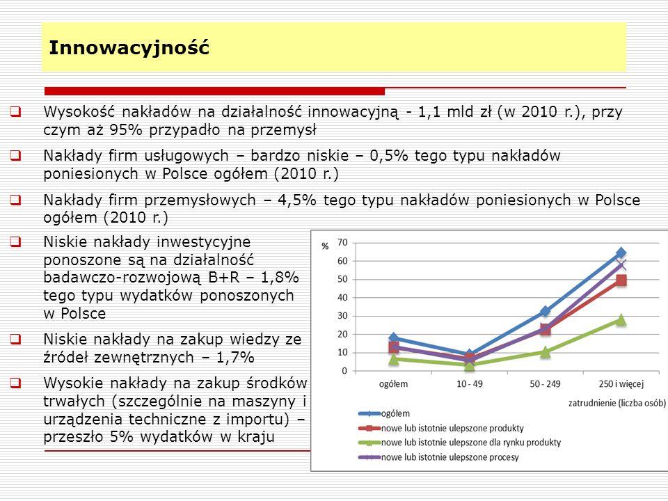 Innowacyjność 18 Wysokość nakładów na działalność innowacyjną - 1,1 mld zł (w 2010 r.), przy czym aż 95% przypadło na przemysł Nakłady firm usługowych
