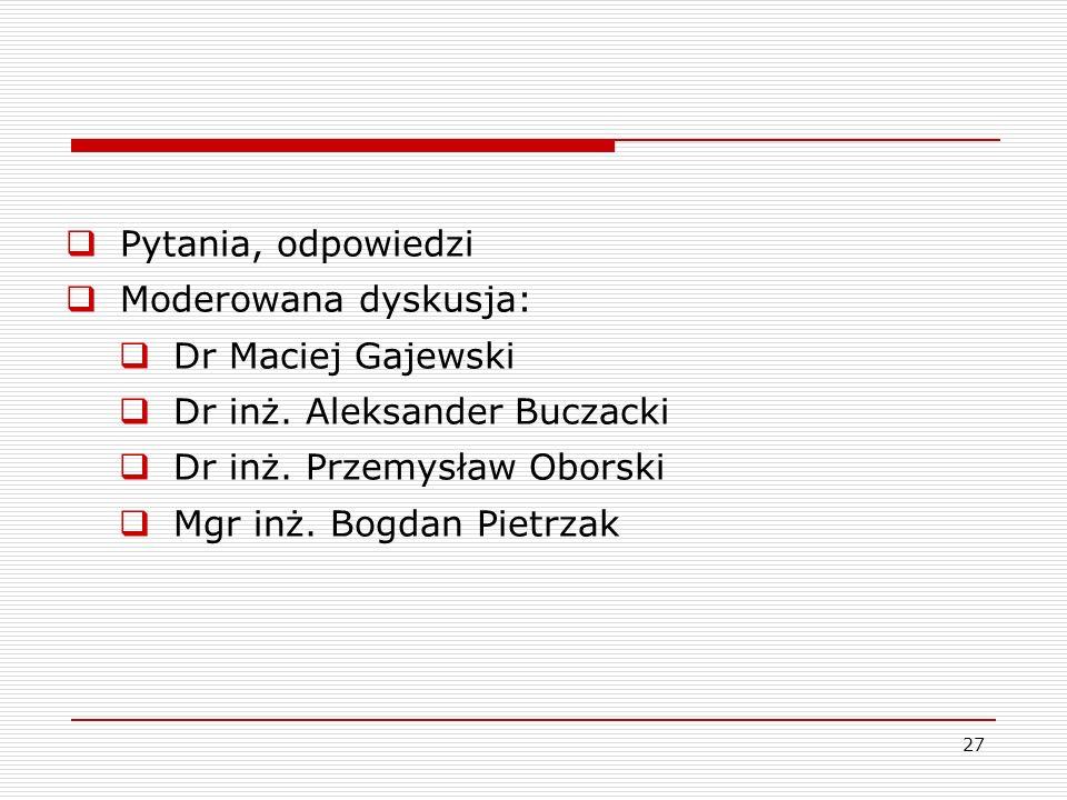 27 Pytania, odpowiedzi Moderowana dyskusja: Dr Maciej Gajewski Dr inż. Aleksander Buczacki Dr inż. Przemysław Oborski Mgr inż. Bogdan Pietrzak