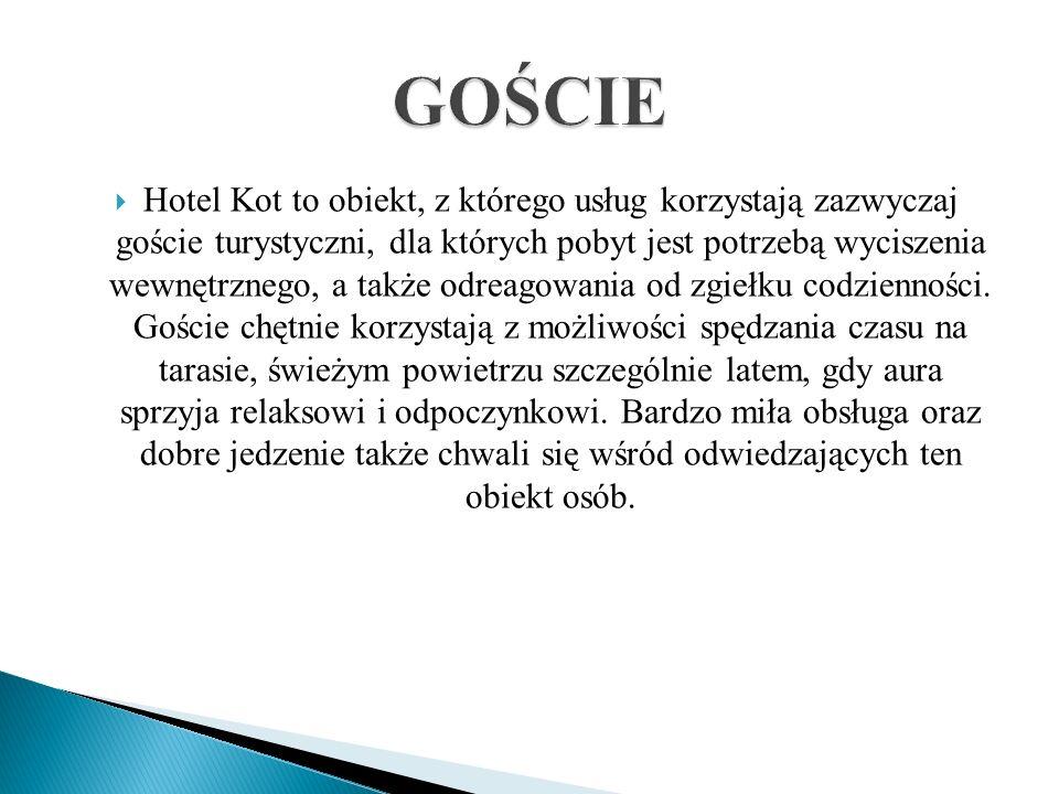 Hotel Kot to obiekt, z którego usług korzystają zazwyczaj goście turystyczni, dla których pobyt jest potrzebą wyciszenia wewnętrznego, a także odreago