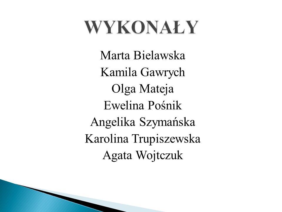 Marta Bielawska Kamila Gawrych Olga Mateja Ewelina Pośnik Angelika Szymańska Karolina Trupiszewska Agata Wojtczuk